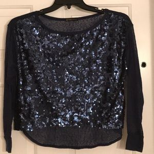 grass collection Tops - Blue sequin top SZ M Grass Collection EUC